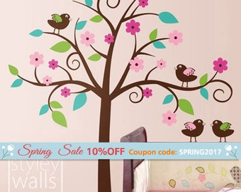 Birds Tree Wall Decal Whimsical Flower Tree with Love Birds Wall Decal Nursery Wall Decal Children Wall Decal Baby Room Tree Sticker