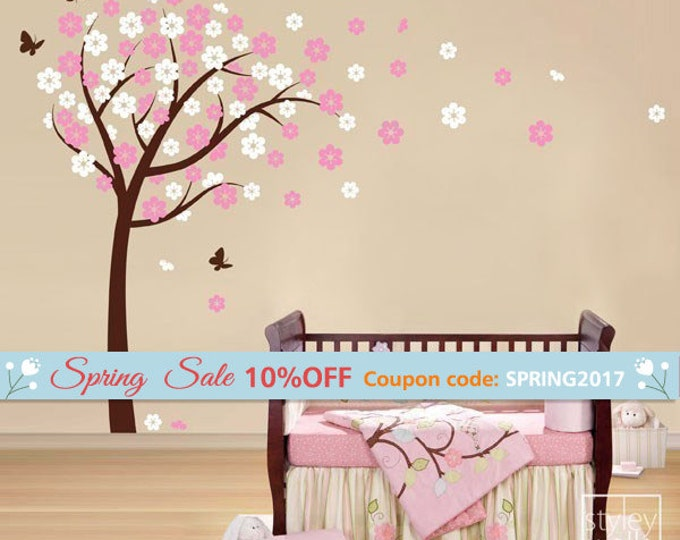 Cherry Blossom Wall decal, Blooming Cherry Tree and Butterflies Wall Decal Sticker, Cherry Blossom Flowers Tree Wall Decal for Kids Nursery