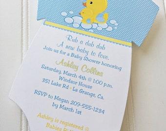 Baby Shower Onesie Invitation / Rub a dub dub / Duck /Baby Boy / Set of 10