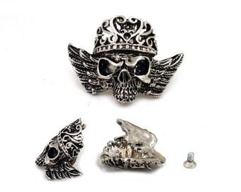 2 pcs. Silver Tone King Skull Concho Screwback Stud Rivet Leather Craft Decorations 28x37 mm. SK SC2837 60DH