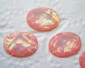 6 - Rose acrylic faceted opals 18x13mm oval cabochons - MJ77