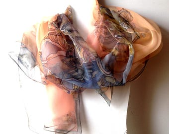 Silk scarf woman scarf hand painted on silk chiffon warm colored background decorative floral patterns