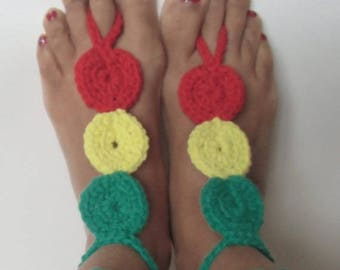 Crochet Rasta Barefoot Sandals, Crochet Barefoot Sandals, Crochet Rastafarian Barefoot, Roots Rasta, Beach Wedding, Rasta Wedding
