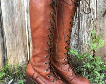 Vintage 60s knee high lace up leather boots / Hippie leather boots / Penny Lane boots / Size 6