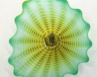 Beautiful Hand Blown Glass Art Wall Platter Bowl 7465 ONEIL
