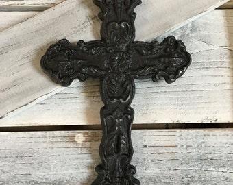 Black Distressed Cast Iron Wall Cross Wall Decor