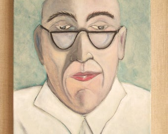 Paintings of Men, Portraits, Male Portrait Painting, Wil Shepherd Studio, Original Fine Art, 12 x 16,Gallery Wrapped Canvas,Handmade,Acrylic