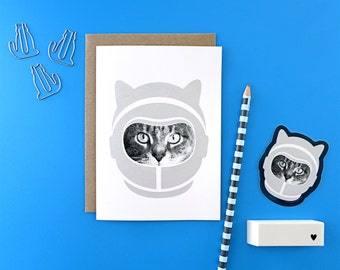 gee whiskers series: astronaut screenprinted cat notecard