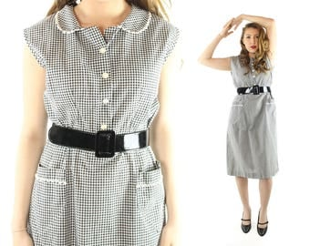 Vintage 50s Cotton Day Dress Black White Gingham Triangle Pockets Sleeveless Shirt Waist 1950s Large L Pinup Rockabilly