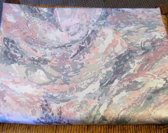 """Vintage 80s Interior Fabric Design Swirling Gray and Pink Upholstery Fabric, 1986, 55"""" x 71"""". Almost 2 YDs"""