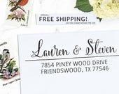 Custom Address Stamp, Self Inking Address Stamp, Wedding address stamp, Calligraphy Address Stamp, Return Address or Eco Mount - Lauren