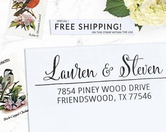Custom Address Stamp, Self Inking Address Stamp, Wedding address stamp, Calligraphy Address Stamp, Return Address or Eco Mount - Lauren
