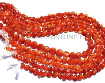 Carnelian Smooth Coin Semiprecious Gemstone Beads, (Quality B) / 5 to 9 mm / 36 cm / CAR-077