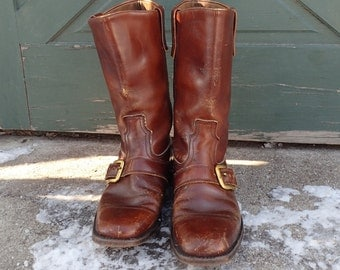 Vintage 1970's Man's Brown Leather Motorcycle Harness Boots w/Brass Buckles-Distressed Square Toe-10?