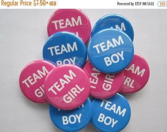 set of 20 team girl team boy gender reveal pins you choose size 1.25 inch or 1.5 inch