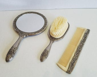 Vintage Silver Plated Brush Comb Mirror Vanity Set