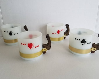 Vintage Set of 4 Siesta Ware Playing Card Mugs Diamonds Spades Hearts Clubs