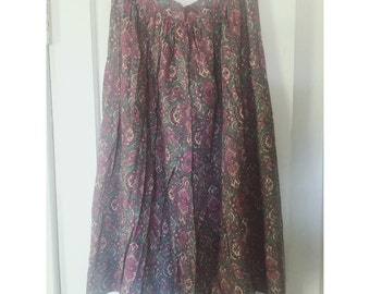 Vintage Paisley Print Pleated Midi Skirt