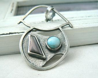 Mushroom - Sterling silver, Larimar and Damascus Steel Pendant - Jewelry 925 Gemstones - READY TO SHIP