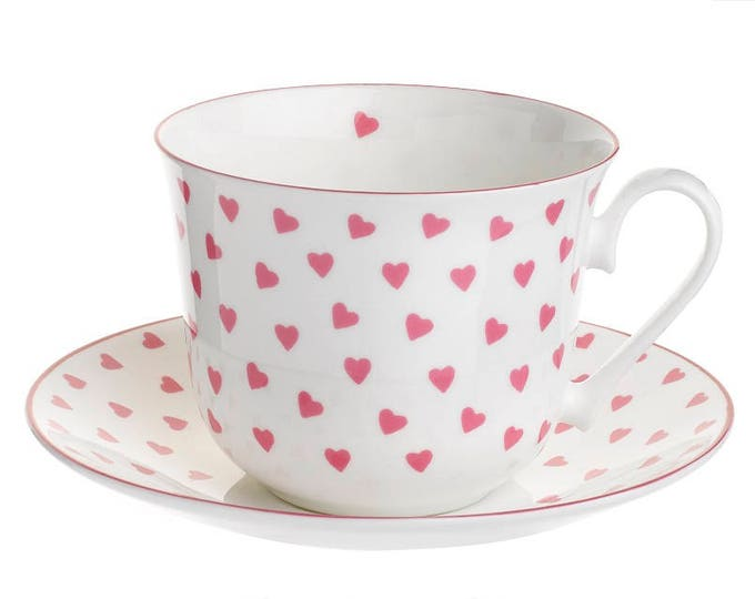 Nina Campbell TEACUP & Saucer HEARTS (Pink) pattern Fine Bone China, Made in England, perfect for any beverage!