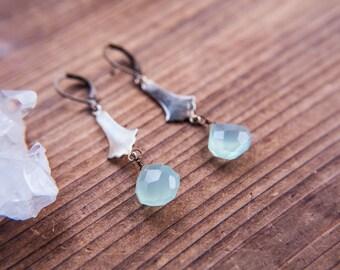 Vintage Brass Charm Drop Earrings in Chalcedony Teardrop Gemstone Vintage Brass Earrings Lead and Nickel Free Gatsby Era Gemstone Earrings