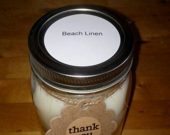Beach Linen Scented Mason Jar 16 oz. Soy Candle, Container Candles