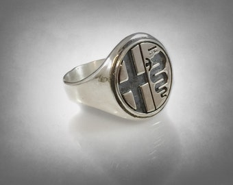Alfa Romeo Italian manufacturer of cars logo Ring solid  Sterling Silver 925