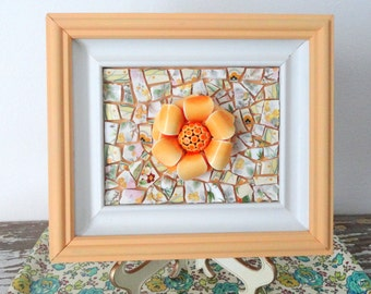 Orange Flower Mosaic Wall Art.  Enamel Flower Brooch.  Creamsicle Wood Framed Floral Original Art.  Pastel Orange Nursery Art.  3d Art.