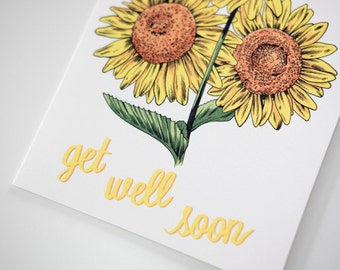 SALE - Get Well Sunflowers greeting card -  50% off