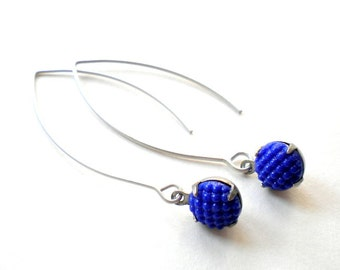 Royal Blue Earrings Long Dangle Earrings Matte Silver Earrings Blue Dangle Earrings Silver Long Earrings Modern Everyday Earrings