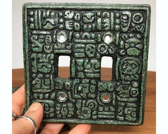 70s Mayan / Aztec Style Light Switch Plate - 2 available - crushed stone in resin