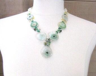 Green & Yellow Necklace -- Solar Quartz Necklace -- Stalactite Necklace -- Green Statement Necklace -- Green Quartz Necklace -Green Necklace