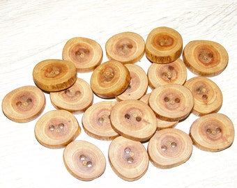 """Small 20 Handmade plum wood Tree Branch Buttons with Bark, accessories (0,83'' diameter x 0,16"""" thick)"""