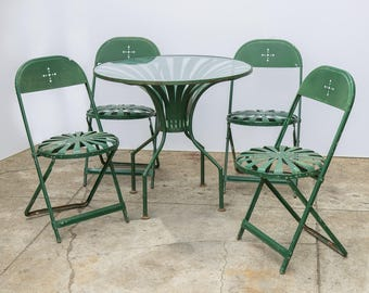 Francois Carre Style Garden Set with Table and Folding Chairs
