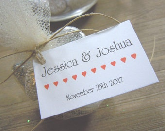 Wedding Favor Tags with Bride and Grooms Names and Date