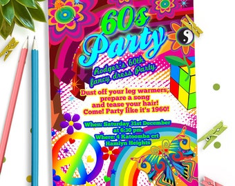 60s theme party, 60s Birthday party invitation,60s Invitation, 60s Birthday party, 60s invites, 60s party invitation,60s party invites