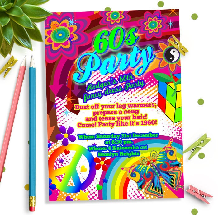 60s party invitation 60s Birthday party invitation60s