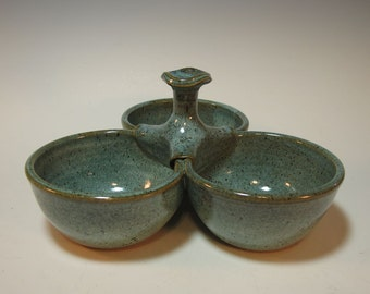 Triple Bowl Server in Frosty Aqua Green - Handmade - In stock - 4 inch bowls