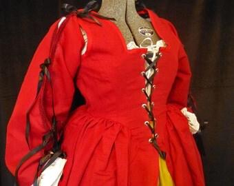 Linen Corset Dress, Three Piece, Renaissance Faire, size 14