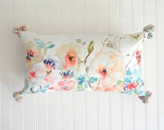 Pom Pom Pillow, Long 12x21 Lumbar Floral Pillow Cover, Designer Watercolor Floral Pillow Cover, 12x21, Pillow Accent, Pom Pom