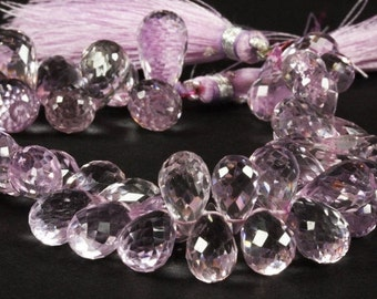 ON SALE Pink Amethyst Beads Faceted Teardrop Briolettes Lavender Pink - Earth Mined Gemstone - 8x6 to 11x7mm - 15 Beads - DISCOUNTED