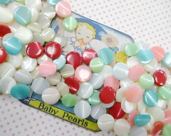 Baby Pearls Diminutive MOP Pastel Mix (100) each Small Shank Style Sewing Buttons Baby Doll Lot