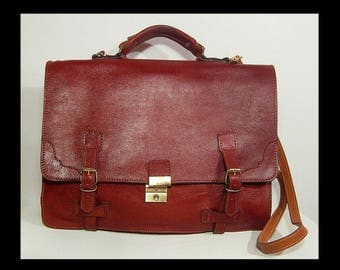 Locking with key oxblood brown leather satchel briefcase ~ school book messenger bag ~ with straps & belts ~ large roomy cross body valise