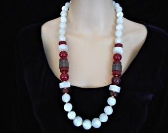 Vintage Moonglow Lucite Necklace / Cherry Lucite Monet  / Designer Signed Necklace