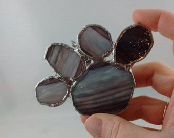 Puppy paw - paw print -dog gift - stained glass gift - dog lover gift - glass gift -pet lover gift - pet paw ornament - glass - brown