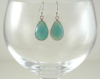 Blue Chalcedony Earrings Gemstone Earrings Light Aqua Blue Gemstone Earrings Light Blue Drop Earrings Blue Sterling Silver Drops