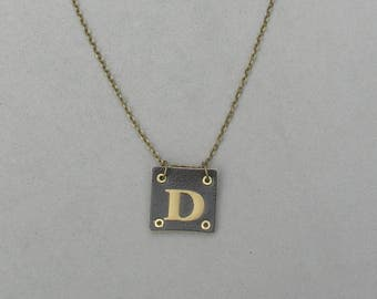 Square Leather D Necklace