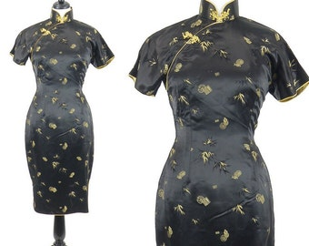 1950s Cheongsam Dress, 50s Dress, Asian Qipao, 1950s Wiggle Dress, Black and Gold Satin Dress, Hourglass Dress, M/L