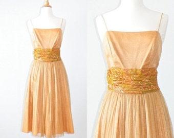 SALE 1960s Dress, Metallic Bronze Pleated Party Dress, Vintage 60s Dress S - M