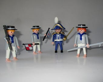 Four Playmobile Figures, Pirate Ship 3055, Admiral of the Schooner, Two Sailors